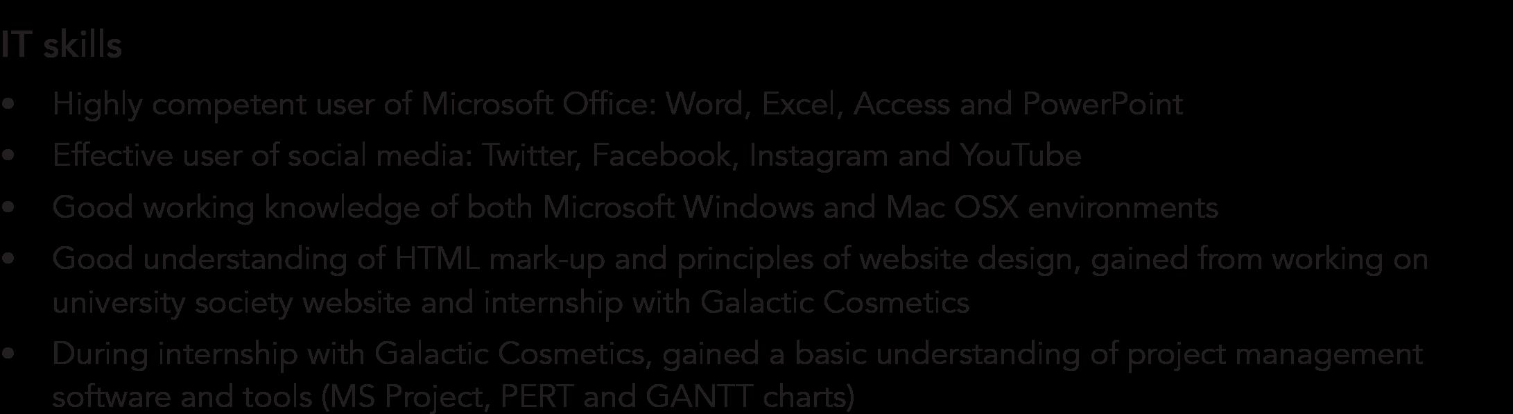 IT skills CV example