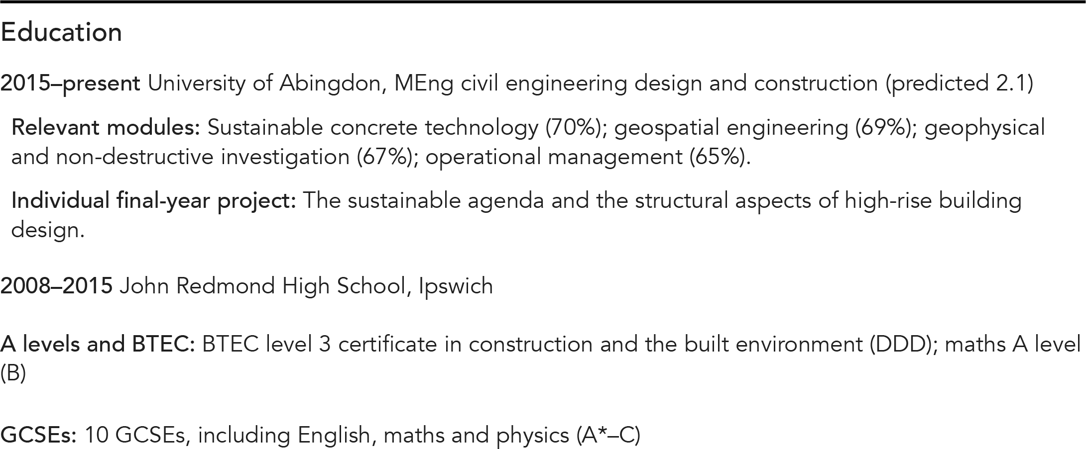 CV snippet; education details in descending chronological order with education provider, qualification level and key study details