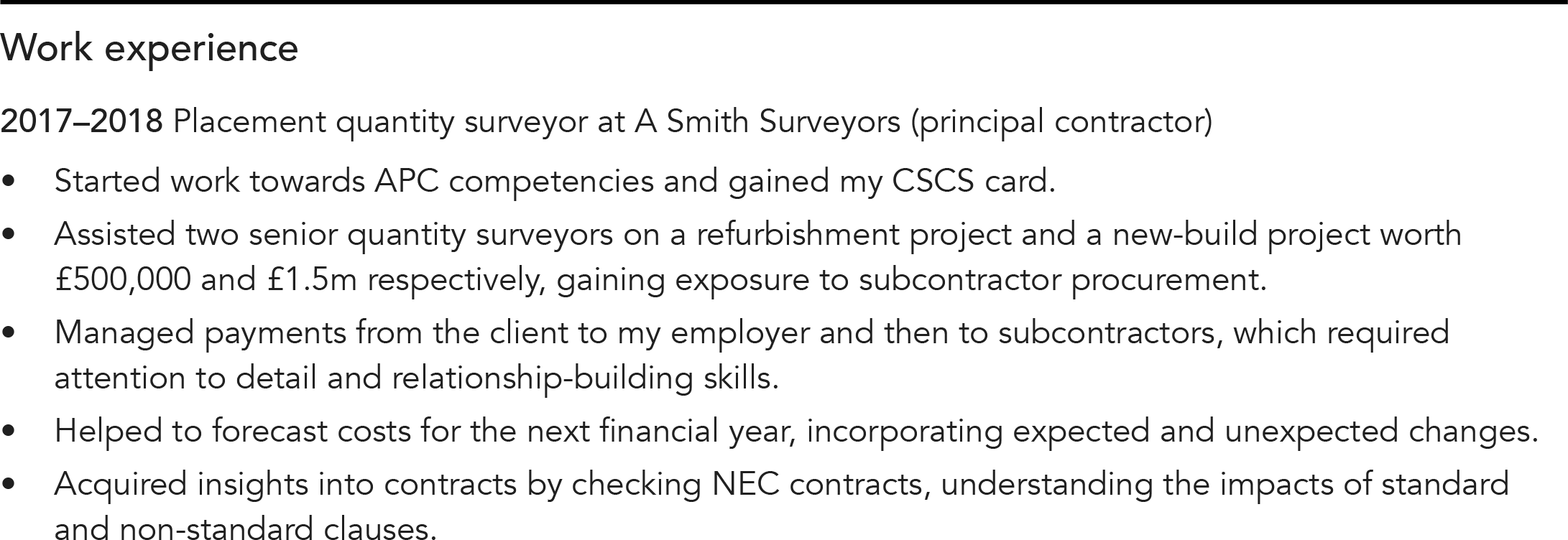 CV snippet; work experience example with date, job title, employer name and description of key achievements and skills
