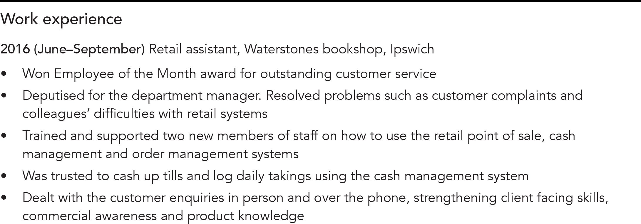 Work experience CV example