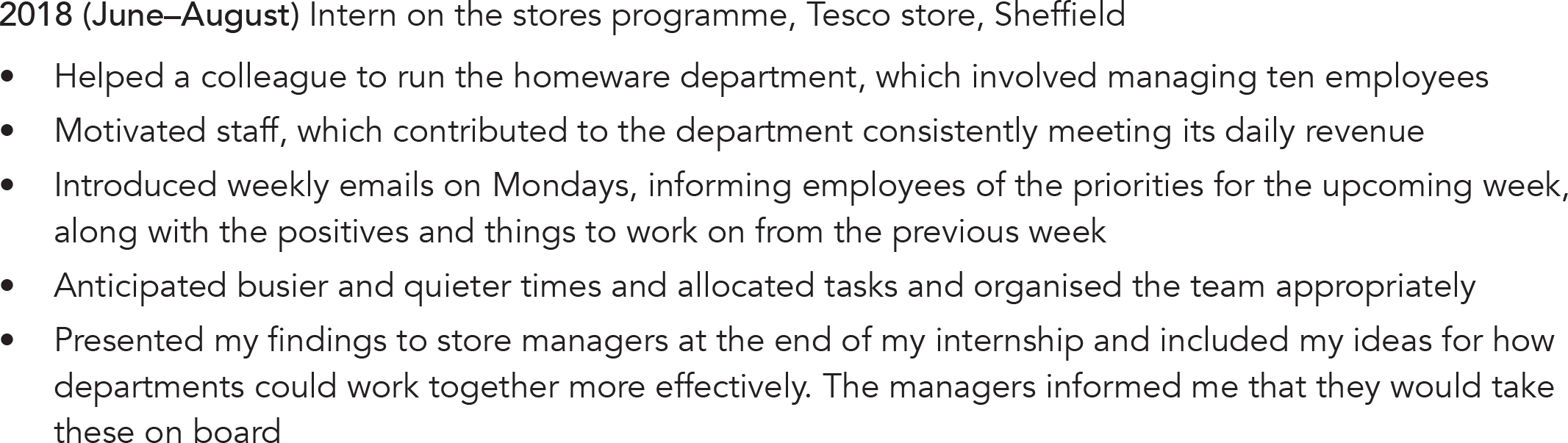 Volunteering CV example
